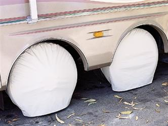 ADCO POLAR WHITE COVERS ; Slip On; Single Tire ; Size 1; Tire Cover; Slip On; Fits 33 Inch To 35 Inch Diameter Tires; Vinyl; Set Of 2; 01-1103 3951