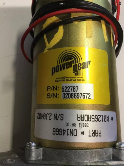 Powergear slide out motor 522787 label